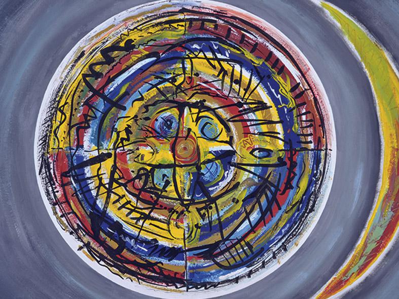 Mond und Sonnenrad, Schamanentrommel, 1987